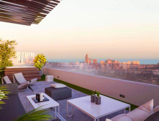 Купить новую квартиру в бенидорме с видом на море в закрытой элитной урбанизации жилом комплексе апартаменты